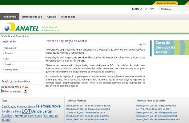 Portal de Legislação da Anatel